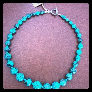 "10"" turquoise graduated bead necklace NWT"